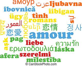 Amour multilanguage wordcloud background concept