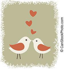 amour, noël, oiseaux