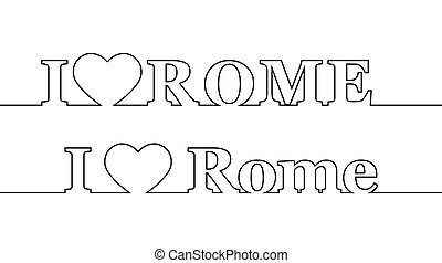 amour, nom, italy., rome., capital, ligne, contour