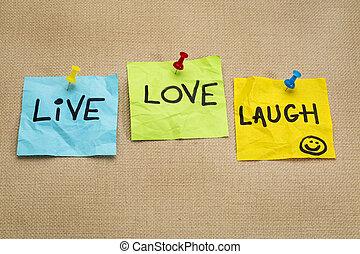 amour, notes, vivant, -, rire, rappel