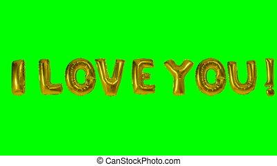 amour, or, ballon mot, flotter, vert, lettres, vous, hélium, écran