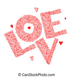amour, ornement, conception, floral, mot, ton