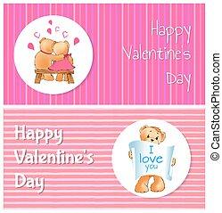 amour, ours, affiche, valentines, deux, vous, jour, heureux