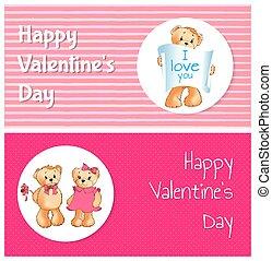 amour, ours, valentines, deux jours, bannières, vous, heureux