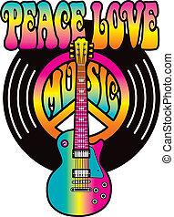amour, paix, musique, vinyle