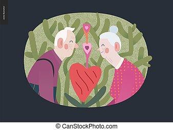 amour, personnes agées, graphiques, valentin, couple, -