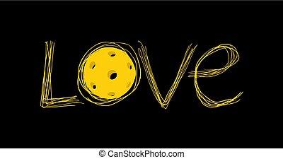 amour, pickleball, message, frais