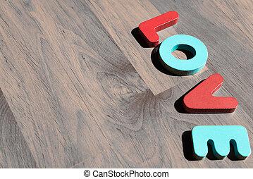 amour, plancher, bois, laminate, 2, mot