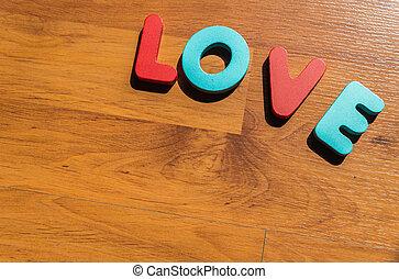 amour, plancher, bois, laminate, 3, mot