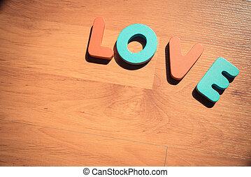 amour, plancher, bois, laminate, 4, mot
