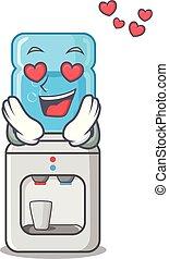 amour, plus frais, plastique, bouteille eau, dessin animé