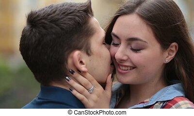 amour, romantique coupler, jeune, liaison, dehors