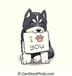 amour, signe., caractère, illustration, husky, vous, chiot, dessin animé