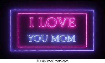 amour, signe néon, animation, clignotant, mom', vous, 'i