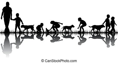 amour, silhouettes, concept, animaux, gens