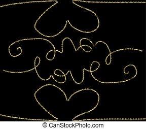 amour, slogan, chaîne, doré