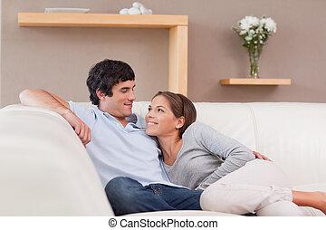 amour, sofa, couple