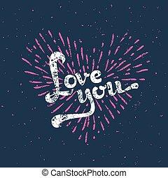 amour, sunbirst, -, vecteur, grunge, carte