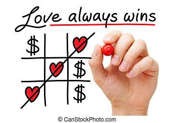 amour, sur, argent, gagne, always, concept
