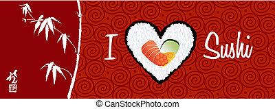 amour, sushi, bannière, fond