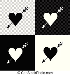 Amour symbol with heart and arrow icon isolated on black, white and transparent background. Love sign. Valentines symbol. Vector Illustration