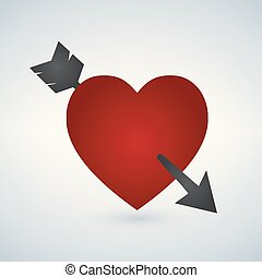 Amour Symbol with Heart and Arrow Icon, vector illustration