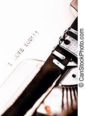 """amour, tapé, """"i, you"""", vendange, message, machine écrire"""