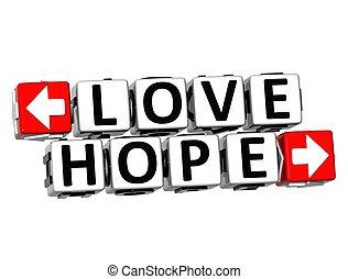 amour, texte, bouton, ici, espoir, déclic, bloc, 3d