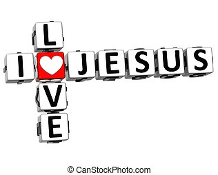 amour, texte, jésus, mots croisés, bloc, 3d