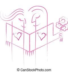amour, themed, ligne, style, illustration