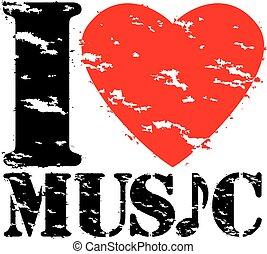 amour, timbre, illustration, caoutchouc, vecteur, musique, grunge