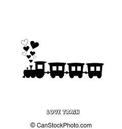 amour, train, carte