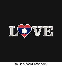amour, typographie, à, drapeau laos, conception, vecteur