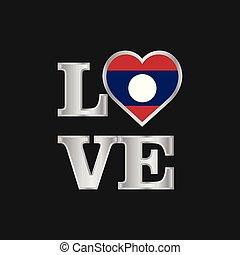 amour, typographie, drapeau laos, conception, vecteur, beau, lettrage