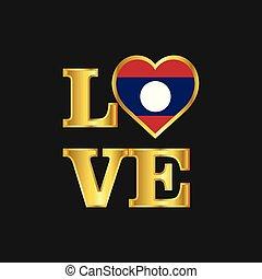 amour, typographie, drapeau laos, conception, vecteur, inscription or