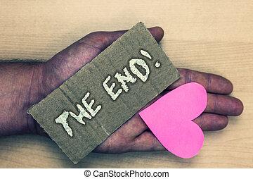 amour, ultraportable., exposition, photo, fin, quelque chose, pas, art, fin, écriture, note, bois, agréable, gentil, vie, business, projection, motivation, call., travail, temps, showcasing, conclusion, manche