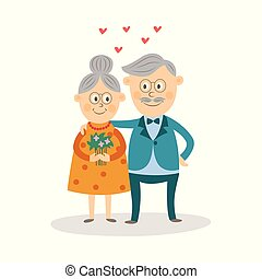 amour, valentine, couple, personnes agées, vecteur, jour