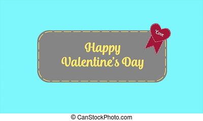 amour, valentine, salutation, animation, jour, ruban, heureux