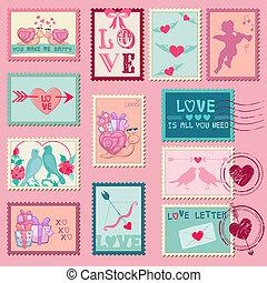 amour, valentine, -, timbres, vecteur, mariage, jour