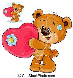 amour, vecteur, tenue, coeur, ours, sien, pattes, avouer, teddy, rouges
