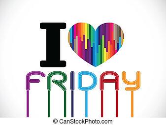 amour, vendredi, idéal, conception, signes, police
