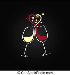 amour, vin, fond, conception, rouges, concept, blanc