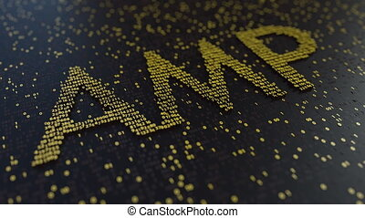 AMP word made of moving golden numbers. Cryptocurrency...