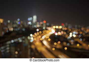 Ampang Kuala Lumpur City Skyline at Night Blurred Background...