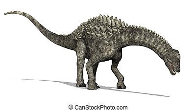 An Ampelosaurus dinosaur is browsing - 3D render.