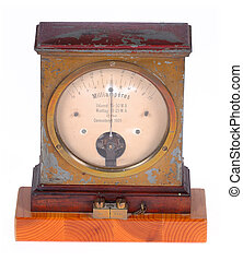 Old ampere meter from 1909. Taken on clean white background.