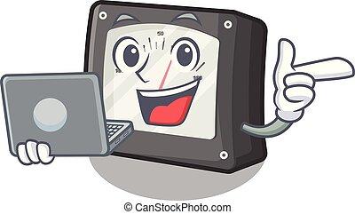amperio, computador portatil, aislado, metro, mascota