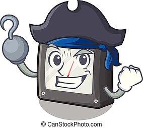 amperio, mascota, aislado, metro, pirata