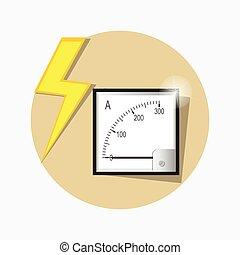 Ampermeter flat icon. Vector.