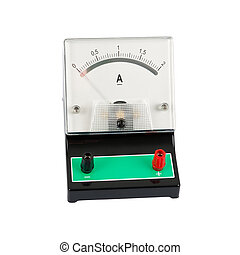 Ampermeter - School ampermeter - isolated on a white ...